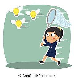 femme affaires, voler, idées, indien, prise, essayer