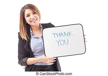 femme affaires, vous, remercier, joli, signe