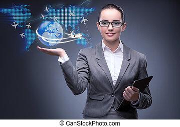 femme affaires, voyage, concept, air