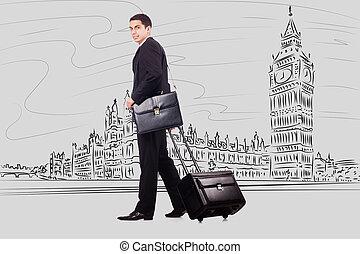 femme affaires, voyage, londres, jeune