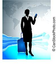 femme affaires, voyager, autour de, mondiale