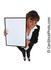 femme affaires, whiteboard, haut, tenue