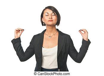 femme affaires, yoga, jeune, bureau