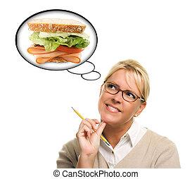 femme, affamé, pensée, sandwich, grand, frais, bulles
