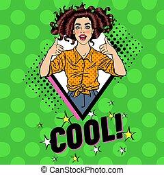femme, affiche, pouce, épingle, banner., vendange, signe., haut, illustration, joyeux, vecteur, poser, pop, joli, art, poster., publicité, girl, adolescent