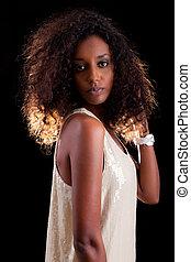 femme, africaine, beau, jeune