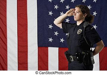 femme-agent, saluting.
