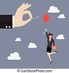 femme, aiguille, balloon, pousser, pop, main