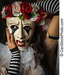 femme, aimer, masque, farceur, pierrot, closeup
