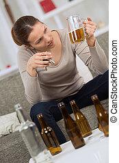 femme, alcoolique, clés, voiture, bière, tenue, pinte