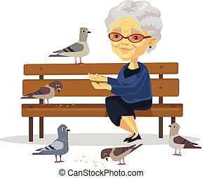femme, alimentation, vieux, oiseaux
