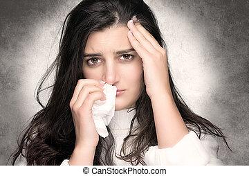 femme, allergie, grippe, jeune, malade, ou