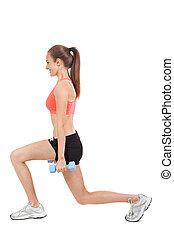femme allonger, isolé, jeune, jogging, séduisant, jambes, après
