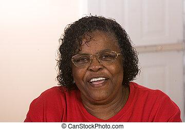 femme américaine, africaine, heureux