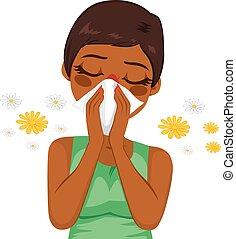 femme américaine africaine, souffrance, allergie