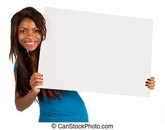 femme américaine africaine, tenue, a, vide, blanc, signe