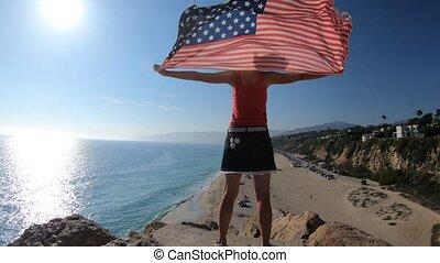 femme américaine, drapeau