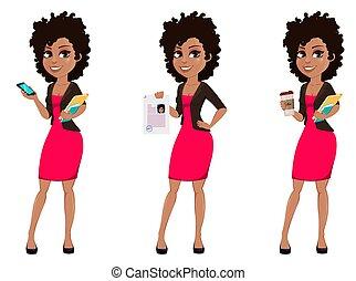 femme américaine, jeune, business, africaine