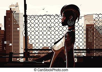 femme américaine, joli, africaine