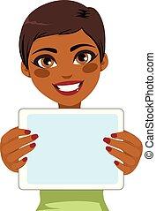 femme américaine, tablette, africaine