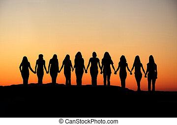 femme, amitié, silhouette.