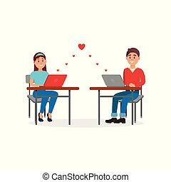 femme, amour, bureau, bavarder, ordinateurs portables, jeune, illustration, leur, vecteur, fond, utilisation, blanc, homme