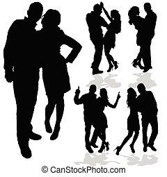 femme, amour, couple, noir, silhouette, homme