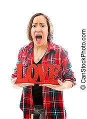 femme, amour, texte, projection, jeune, colère