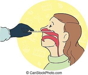 femme, anatomie, nasale, prélèvement, croix, patient, intérieur, essai, ouvrier, processus, côté, section, healthcare, vue, nez