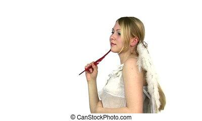 femme, ange, pensée, main., plume, ailes