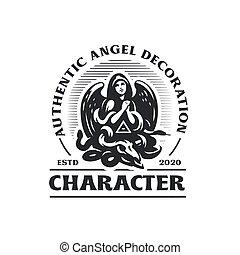 femme, ange, prays., ailes, capuchon