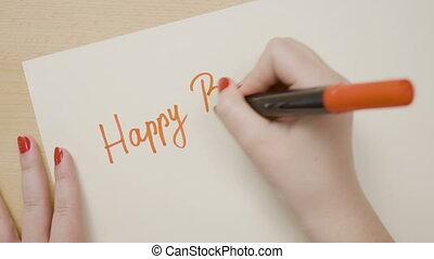 femme, anniversaire, écriture, papier, mains, marqueur, rouges, heureux