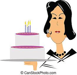 femme, anniversaire, souhaiter, mûrir, heureux