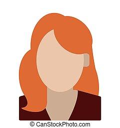 femme, anonyme, cheveux, portrait, rouges, icône