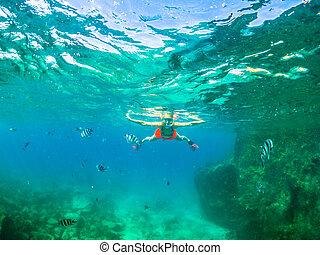 femme, apnée, snorkeling