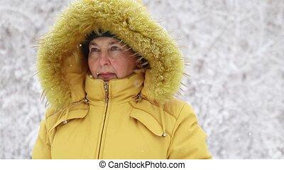 femme, appareil photo, chaud, sourires, tomber, regarde, heureux, vêtements, adulte, snow., clair