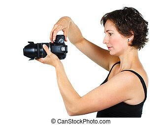 femme, appareil photo, jeune