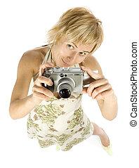 femme, appareil photo, numérique