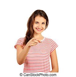 femme, appareil-photo., pointage, isolé, côté, regarder, présentation, fond, émotif, blanc, girl, heureux