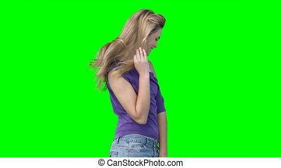 femme, appareil photo, poser
