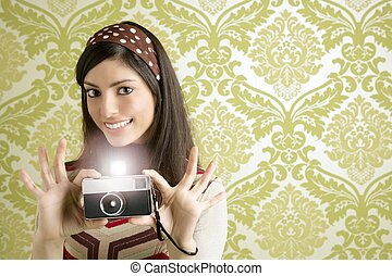femme, appareil photo, retro, papier peint, vert, photo, années soixante