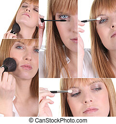 femme, application maquillage