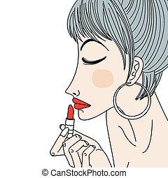 femme, application rouge lèvres