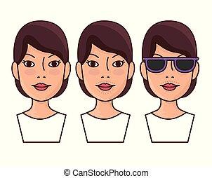 femme, après, déménagement, cheveux, faces, avant