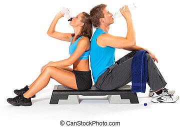 femme, après, exercisme, eau, boire, homme