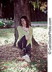 femme, arbre, contre, séance