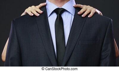 femme, argent, poche, businessman., récupérations directes, dehors
