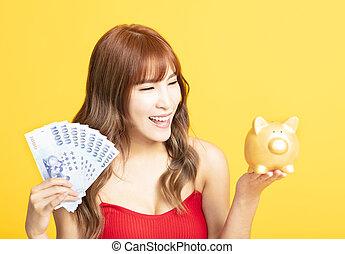 femme, argent, projection, quoique, asiatique, tenue, banque, porcin
