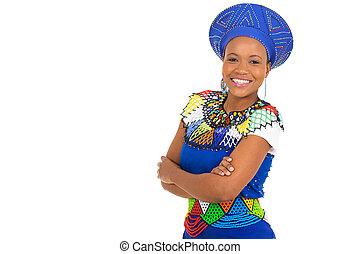 femme, armes traversés, africaine, jeune