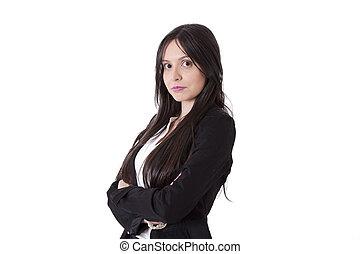 femme, armes traversés, business